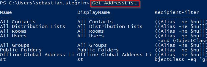 Get-AddressList