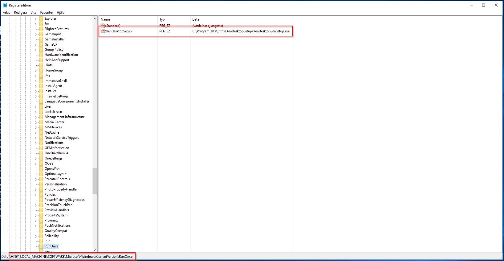 VDA Update Stuck Registry