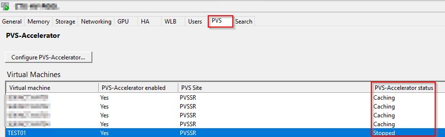 XenCenter - PVS Tab